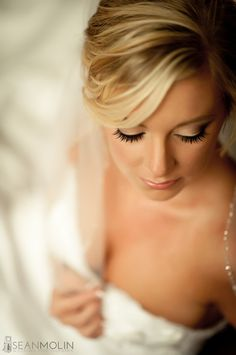Wedding portrait of bride from above