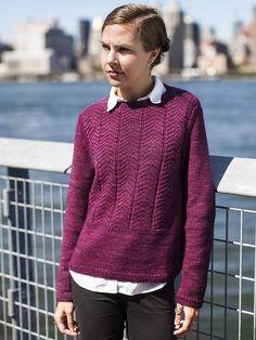 Пуловер лицевыми и изнаночными петлями