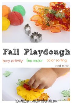 fall playdough activity for fine motor skills, color sorting, counting, and more