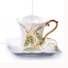 Fine Art Porcelain Ceramic Diamond Pea Coffee Tea Set With Sauce + Gift Box