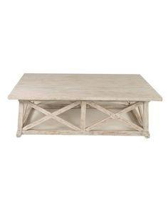 Noir Sutton Coffee Table - White Wash; The outcome I'm hoping for in my DIY White Wash Coffee Table!