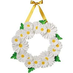 White Daisy Wreath -paper flowers, adhesive foam & ribbon