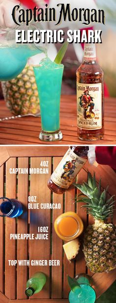 Summertime calls for tropical cocktails under the sun. When you can't hit the coast for quick vacation, bring the beach to your backyard barbecue with a Captain Morgan Electric Shark. To make this group serve, combine 4 oz Captain Morgan Original Spiced R Bar Drinks, Cocktail Drinks, Yummy Drinks, Beverages, Spiced Rum Drinks, Blue Cocktails, Cocktail Recipes, Party Hard, Alcohol Drink Recipes