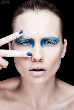 Blue and white ice makeup
