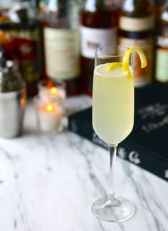 French 75  http://mralpenglow.com/2014/12/30/sparkling-cocktails-for-a-new-year/