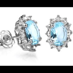 Blue Topaz and Diamond Earrings‼️ Georgeous 1.15 Carat TW Sky Blue Topaz and Diamond Platinum over .925 Sterling Silver Earrings. SRP $209 ‼️ Jewelry Earrings