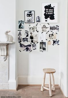 Family photos on the wall w/ black masking tape    BODIE and FOU★ Le Blog: Inspiring Interior Design blog by two French sisters