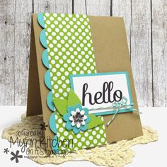 "handmade greeting card from On A Stampage ..: The Stamps of Life ...  ""hello"" ... with lime and aqua ... luv the bright and country look ..."