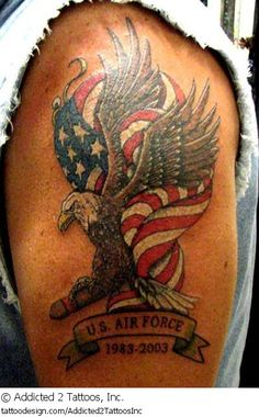 A tattoo design picture by Addicted 2 Tattoos, Inc.: patriotic,military,us,air,force,usaf,united,states,usa,american,memorial,memory,loving,rip,animal,bird,wing,upper,arm,flag,eagle
