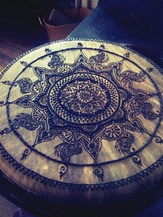 djembe drum with original henna    original design mandala while listening to Jeff Buckley