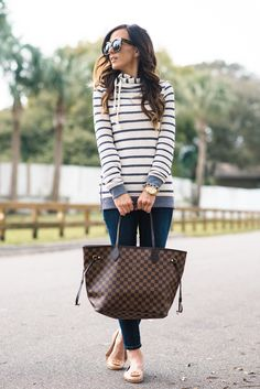 louis vuitton handbags at tk maxx Packing Clothes, Flats Outfit, Winter Stil, Casual Fall Outfits, Tory Burch Flats, Mode Style, Louis Vuitton Handbags, Louis Vuitton Neverfull, Autumn Winter Fashion