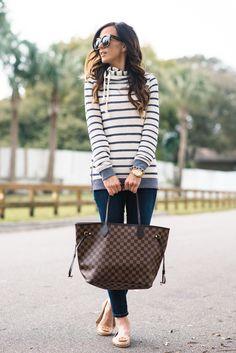 stripe sweatshirt, roxy sharing song stripe hoodie, spring style, sweatshirts, sweatshirt, roxy, dark denim skinny jeans, j brand jeans, j brand dark denim skinny jeans, louis vuitton damier neverfull tote, tory burch minnie flats, nude flats,