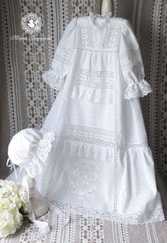 """Купить Крестильное платье и чепец """"Белое ришелье.Вариации"""" - белый, крестильное платье, крестильная рубашка"""