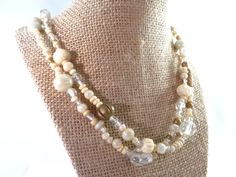 Beige Beaded Necklace Light Natural Colored by RusticWayTreasures