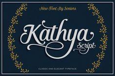 Kathya Script is a contemporary calligraphic typeface #megabundle #presentationmockups #vectorlogos #customfonts #vectorbadges #watercoloreffects #photoshopbrushes