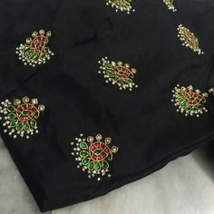 To customize, whatsapp 9043230015 for Saree, Blouse and Kurtis Silk Saree Blouse Designs, Bridal Blouse Designs, Blouse Patterns, Embroidery Works, Hand Embroidery Designs, Simple Embroidery, Ribbon Embroidery, Blouse Models, Indian Designer Wear