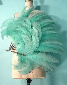 c. 1920's HUGE Aqua Ostrich Feather Fan | Antique Dress