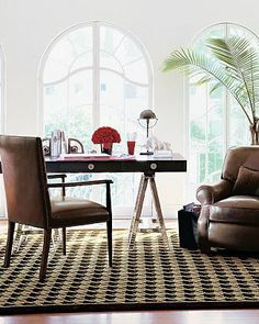 william sonoma houdstooth rug wool carpet floor brown chocolate ivory cream off white check preppy