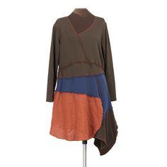 Secret Lentil Clothing - Slant Six Dress in brown, navy blue and terra cotta, $158.00