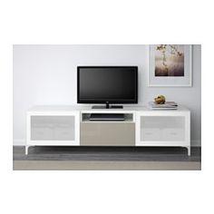 BESTÅ TV-Bank - weiß/Selsviken Hochgl beige Frostgl, Schubladenschiene, Drucksystem - IKEA