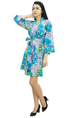 212ea0f370 Bimba Womens Bridesmaid Getting Ready Short Floral Cotton Robe Bride Coverup  Ready Short