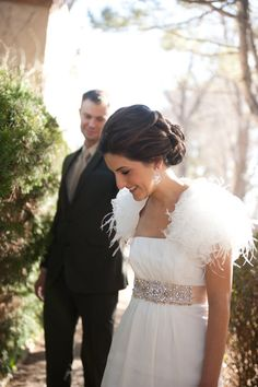 Glam feather bolero: http://www.stylemepretty.com/2016/03/17/trending-feather-wedding-details-that-soar-new-stylish-heights/