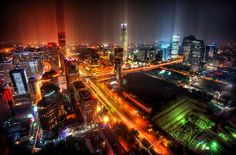 Trey Ratcliff. Downtown Beijing After Rain.