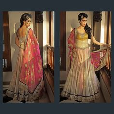 Nivedita Saboo Look Book 2013 gold and peach bridal outfit for a south asian bride - Outfit #desi #indian #fashion #pakistani #southasian #wedding