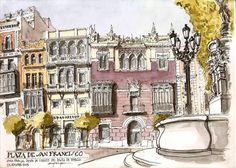 Alfonso Garcia Garcia - Plaza de San Francisco Building Illustration, Illustration Art, Illustrations, Pen And Wash, Pen And Watercolor, Urban Sketchers, San Francisco, Art Drawings, Landscape