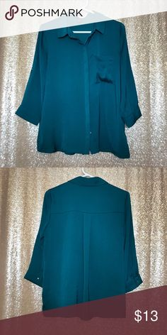 F21 Teal 3/4 Sleeve Blouse Silky soft, excellent condition. Deep real shade with hidden real-opal buttons. 3/4 sleeves, beautiful top that looks great with gold and silver jewelry. Forever 21 Tops Blouses