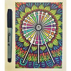 little Ferris wheel order is complete! #zentangle #zenspire #blynndesigns #ferriswheel