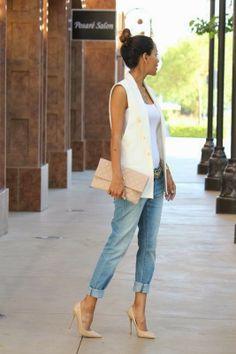 White vest / jeans / nude heels