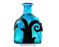 Dark Home Decor  Unique Repurposed Patron Art Bottle by DarkDecors, $48.00