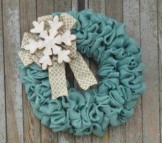 Winter Burlap Wreath, Snowflake Wreath, Snow Wreath, Turquoise and White Burlap…