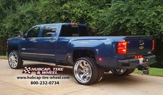 American Force 26×8.75 polished Raptor wheels look phenomenal on the 2016 Chevrolet Silverado 3500 Dually High Country