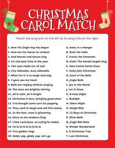 Christmas Carol Matching Game