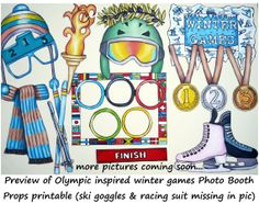 Olympic Inspired winter games photo booth props - perfect for your Olympic Games winter party or to celebrate your nation or favorite team