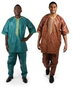 "Men's Brocade Dashiki & Pants -Look and feel like royalty in this stunningly sharp brocade set. Shirt fits up to 54"" chest with 34"" length. 50"". Drawstring pants fits up to 43"" waist with 29"" inseam and 43"" hip to hem length. Made in Gambia. Free Size"