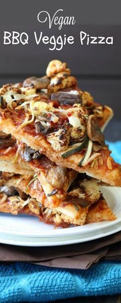 Vegan BBQ Veggie Pizza has all of the flavors and texture a person could want. Veggies galore, stacked high & homemade pizza dough for the best of both worlds. So much healthier too!