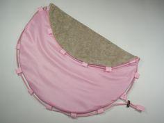 Tapis rond/sac de piscine pieds au sec, tissu éponge moka et tissu imperméable rose : Autres sacs par la-renaissance-des-matieres