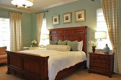 Sherwin Williams Tidewater with Contemporain Chambre Blue Bedroom, Bedroom Colors, Bedroom Ideas, Master Bedroom, Bedroom Inspiration, Sherwin Williams Tidewater, Sw Tidewater, Contemporary Window Treatments, Taupe Bedding