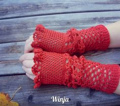 Crochet mittens, crochet fingerless gloves, knitted mittens, ruffle gloves, red gloves, lace gloves, openwork gloves, arm warmers, boho