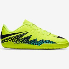 cb472be5f82 Nike Jr Hypervenom Phelon II IC Indoor Soccer Shoe Yellow Black Turquoise  Size 1Y