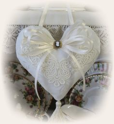 Heart shaped lavender sachet hanging by LowCountryShabbyChic