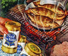 Pabst Blue Ribbon Beer Ad, 1954