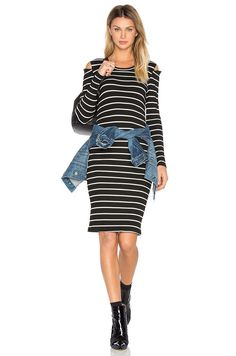 29df5a090d9 LNA Tay Dress in Cream Black Stripe