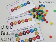 Free M&M Math Pattern Cards