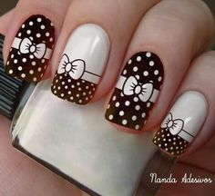 White and black / bows Fancy Nails, Cute Nails, Pretty Nails, New Nail Art Design, Fall Nail Designs, Elegant Nails, Stylish Nails, Nail Art Techniques, Geometric Nail