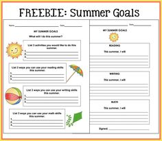 "Get this FREE Summer Goals download! Help students focus on goals for the summer! Go to https://www.facebook.com/groups/TheChristianHomeSchoolHub/ and look under ""Files""...There you'll find your freebie!"