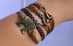 Elephant bracelet  bronze elephant anchor hope by jewellrydesign, $9.99